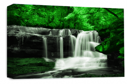 Waterfall Landscape Wall Art Green Grey White Canvas Forrest Picture